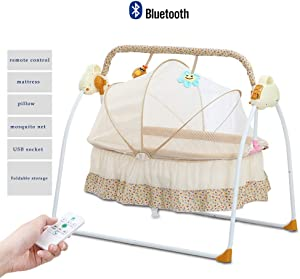 HLR-Crib Travel Crib Travel Portable Multi-Function Music Smart Game Ridge Newborn Shaker  Color Yellow