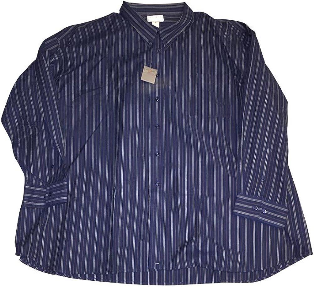 5X Big and Tall 100% Cotton Navy Brown Stripe Button Down Shirt 5XB