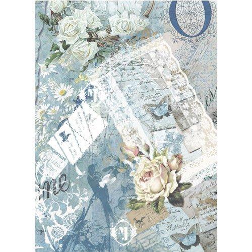 Papel de Arroz Decoupage Cadence Rosas Azules 30x41cm Ref. 319