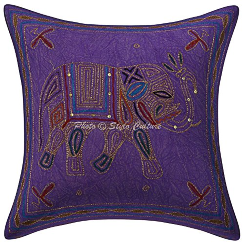 Stylo Culture Cotton Ethnic Sofa Cushion Cover Purple 40cm x 40cm Elephant Couch Scatter Cushion Gold Thread Embroidered Home Decoration 16x16 inches Throw Pillow Soft (1 Pc)
