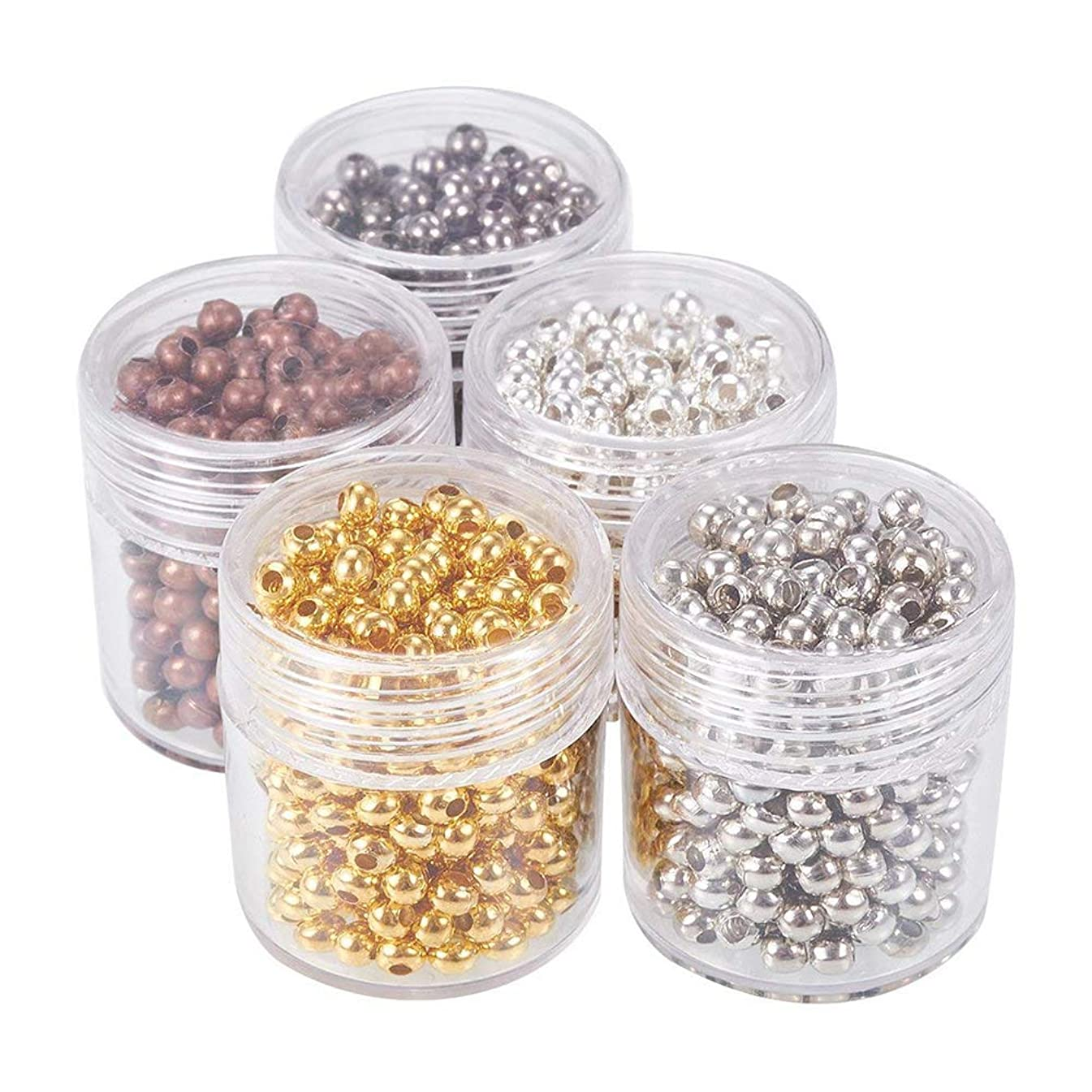 Pandahall 5 Box 3mm Mixed Color Iron Round Spacer Beads (about 270pcs)