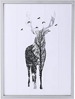 NIKKY HOME Decorative Deer Wood Framed Wall Picture Art Wildlife Prints Cabin Lodge Decor, 11.9 x 0.91 x 15.8 inches, White and Gray