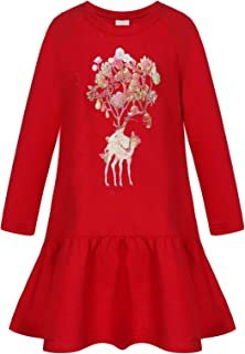 BONNY BILLY Girl's Long Sleeve Patterned Winter Casual Cotton Jersey Dress with Ruffles