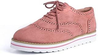 Zapatos de Cordones Mujer Planos Brogue Derby Oxford Gamuza Cuero Mocasines Vestir Moda Casual Calzado Negro Marrón Rosa Azul Gris 35-43