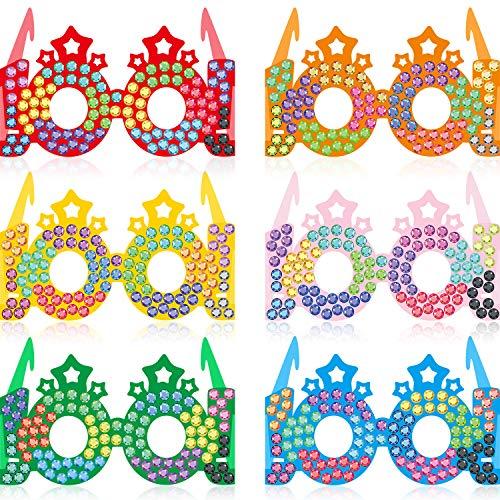 30 Stücke 100 Tage Bunte Papier Brillen Kronen, 100. Schultag Brille Strass Sterne Papier Glitzer Party Brillen für 100 Schultage Feier Party Gefallen, 6,4 x 4,9 x 3,3 Zoll