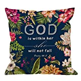 HGOD DESIGNS Flowers Pillow Covers Christian Quotes Throw Pillow Case,Bible Verses God is Within Her She Will Not Fall Psalm 46 10 Cotton Linen Square Pillow Cover for Men/Women/18x18 inch