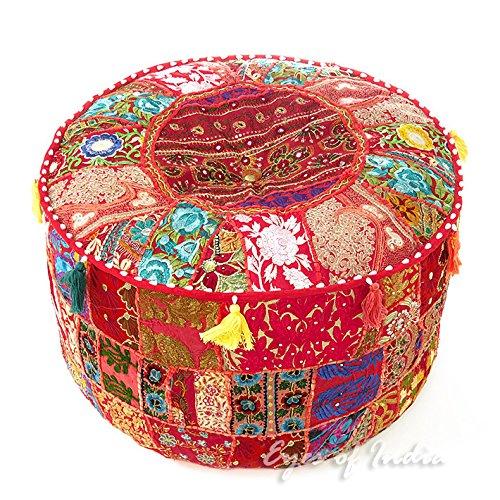 Eyes of India - de Colores Patchwork Puf Otomano Redondo Puf Cubierta Suelo Asiento Bohemio Elegante Bohemio Adorno Indio Hecho a Mano - Rojo, 22 X 12 in. (55 X 30 cm)