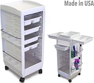 C113E Aesthetician Roll-about Roller Utility Cart Trolley Non Lockable WHITE Made in USA by Dina Meri