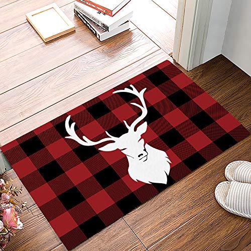 Meet 1998 Christmas Winter Deer Buffalo Plaid Door Mats Rug,Floor Mats Front Doormats Non-Slip Bedroom Carpet Home Kitchen Rug 18x30 inch