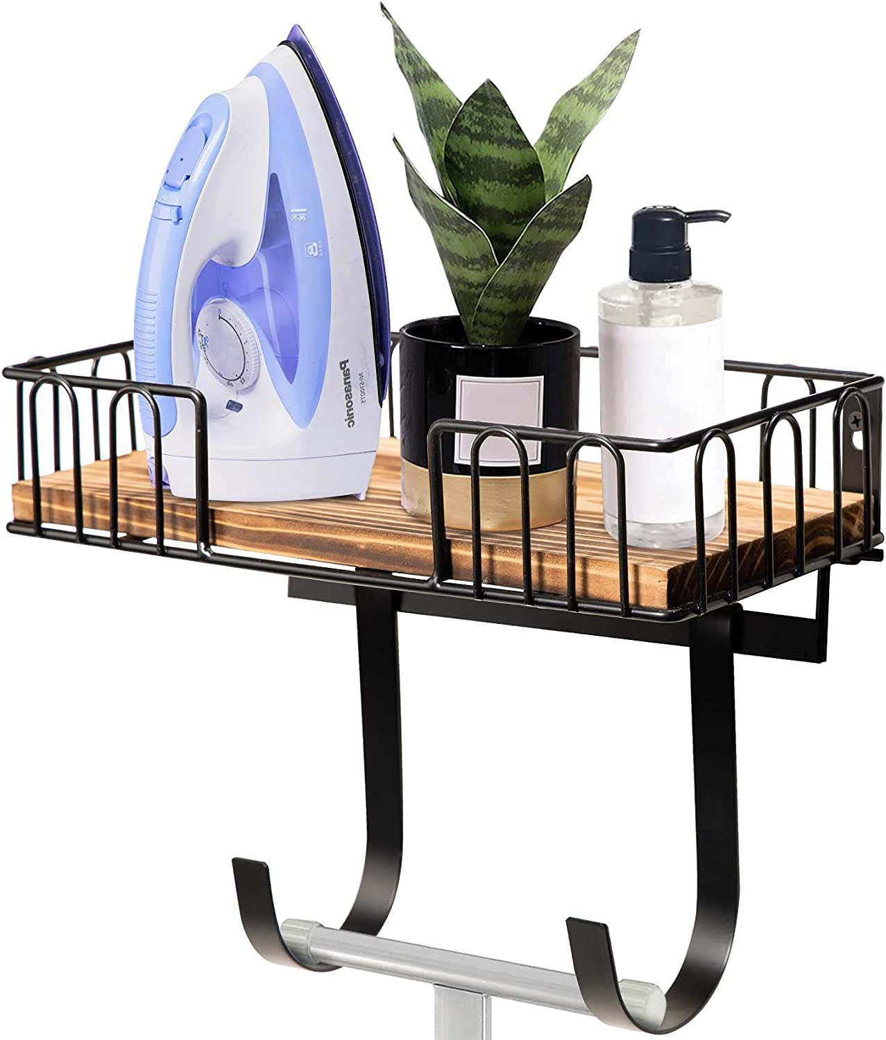 DB Ironing Board Hanger Wall Mount, Ironing and Iron Board Wall Mount with Shelf, Metal Iron Holder Wall Mount with Large Storage Wooden Base Basket & Removable Hooks, Iron Board Hanger Laundry Room