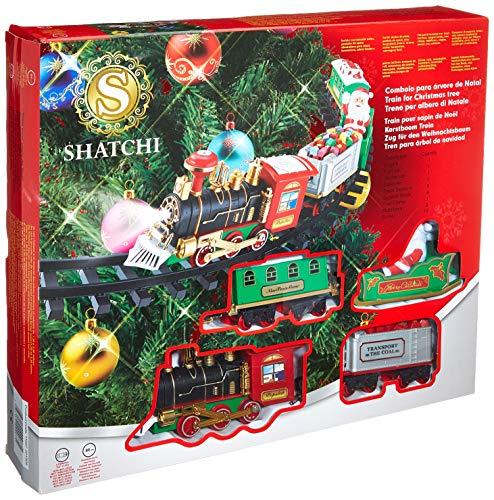 SHATCHI Set di Treno da Montare Attorno all'Albero di Natale, Decorazione Festiva per casa con luci e Suoni, Taglia Unica