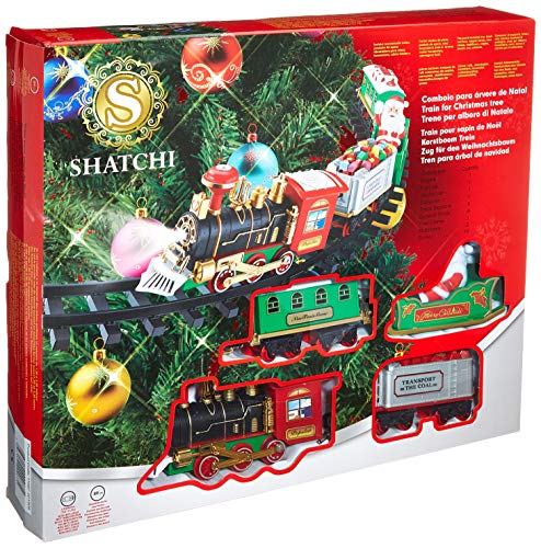 SHATCHI Christmas Train Set-Around The Tree Xmas Home Decoration Festive Light Up Realistic Sound Battery Operated, Multi, One Size