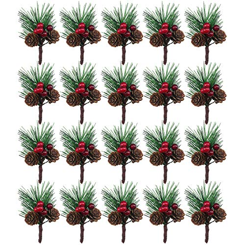 BLEBRDME 20PCS Artificial Pine Picks Small Pine Tree Plants Red Pinecones for Christmas Flower Arrangements Wreaths and Holiday Decorations