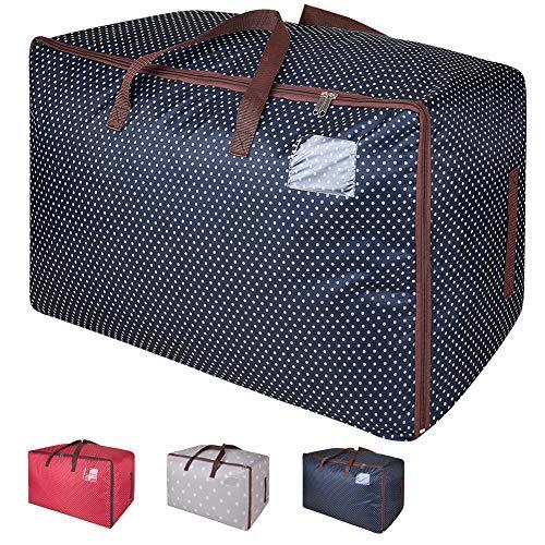 Amazon Brand – Eono 100L Sacs pour vêtements, étanche épais surdimensionnée Organiseur Sac de Rangement, Sac de Voyage (Bleu)
