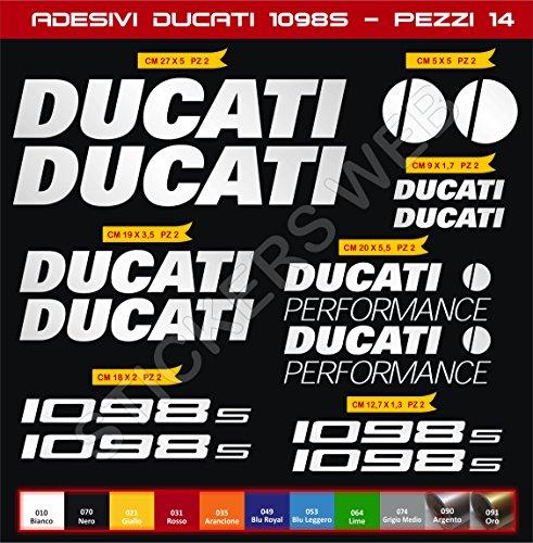 Aufkleber Ducati 1098S Performance Kit 14 Stück - Farbe - Motorrad Motorbike Pegatina Code 0593 (Silber Code 090)