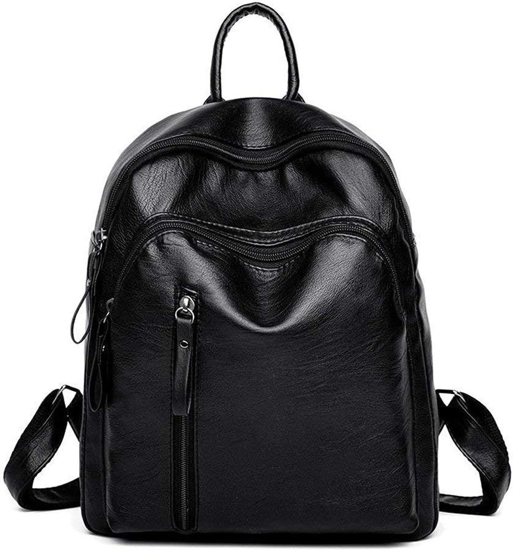Eeayyygch Student Tasche, Pu Tasche, Rucksack, große Kapazität Tasche, einfach und großzügig, schwarz (Farbe   Schwarz, Größe   -) B07JHZ89M9  Wert