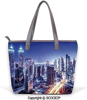 SCOCICI Satchel for Women Dubai Downtown UAE Night Scenery Modern High Rise Bui