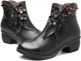 34f8eb8174b7 Socofy Bottes Femme, Boots à Fleurs en Cuir Talon Haute Chaussures de Ville  Mustang Hiver