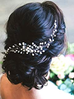 Aegenacess Decorative Hair Side Comb Vine Crystal Clips for Wedding Brides Bridal Prom Accessories (silver)