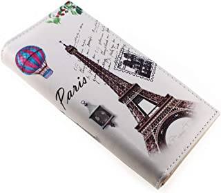 Vintage Style PU Leather Paris Effiel Tower Cartoon Trifold Wallet Cash Coin Long Purse Card Holder for Women & Girls