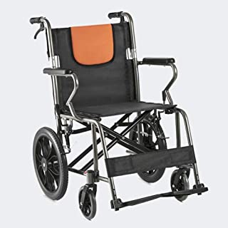 Lightweight Wheelchair ,Transport Folding Chair with Handbrakes ,Adjustable Brake Tightness Speed ,14 inch Large Rubber Wh...