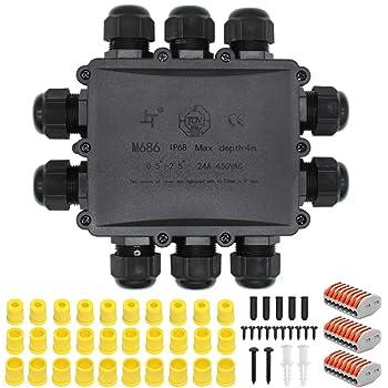 HUYU - Caja de conexiones impermeable IP68, conector de cable impermeable, caja de conexiones más grande para exteriores, cable de tierra impermeable, caja de conexiones eléctrica, color negro, negro: Amazon.es: Bricolaje y