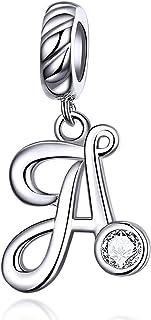 LaMenars - Ciondolo a forma di lettera dell'alfabeto, in argento Sterling 925, compatibile con braccialetti e collane europei
