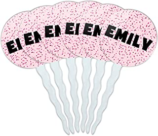 Emily Cupcake Picks Toppers Decoration Set of 6 - Pink Speckles