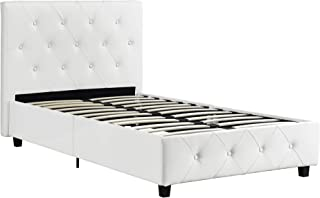 DHP Dakota Upholstered Faux Leather Platform Bed with Wooden Slat Support and Tufted Headboard and Footboard, Twin Size - White