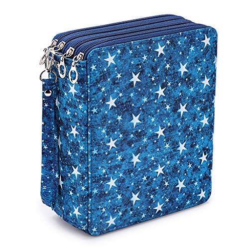 BTSKY Colored Pencil Case- 160 Slots Pencil Holder Pen Bag Large Capacity Pencil Organizer with Handle Strap Handy Colored Pencil Box with Printing Pattern Blue Star