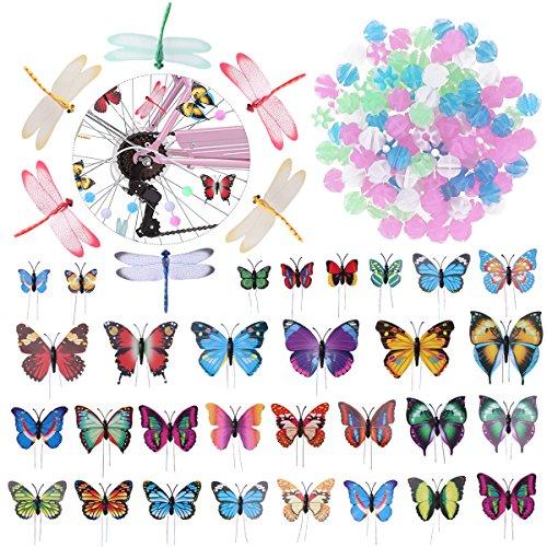 VORCOOL Speichenclips Speichenperlen Speichenklicker für Kinder Mädchen Erwachsene Fahrrad Deko 108 Stücke Perlen + 30 Stücke Schmetterlinge + 6 Stücke Libelle