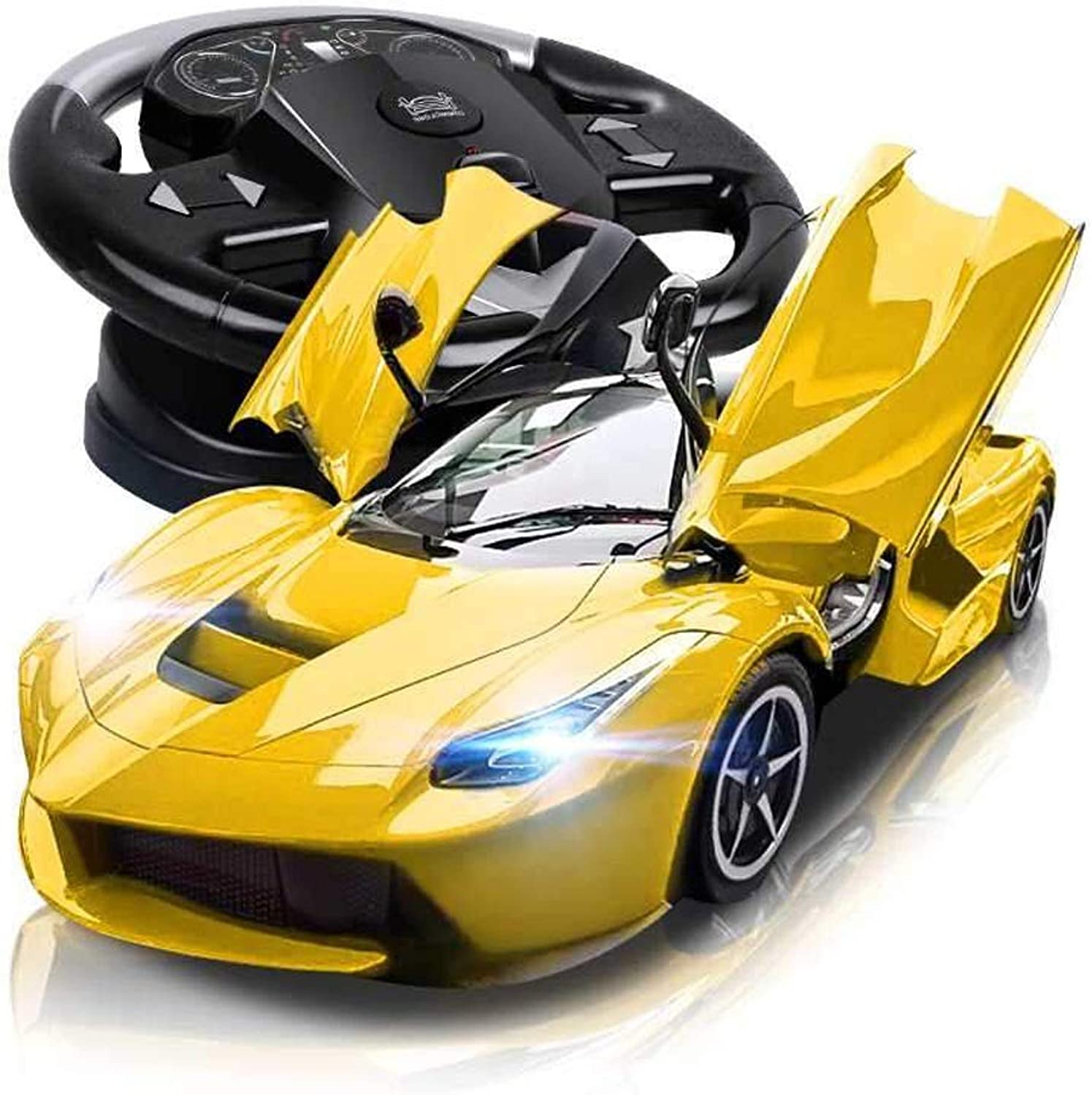 Wapipey 2.4G Remote Control Car For Kids Electric Radio Controlled On Road RC Car Official Licensed 1 10 Drift Gravity Induction Simulation Large Steering Wheel One Key To Open The Door Teenagers Adul