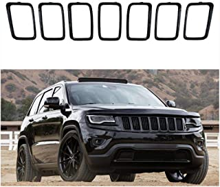 NO7RUBAN Grill Rings Grille Grill Inserts Fit for 2017 2018 2019 Jeep Grand Cherokee 7PCS Black Grill Cover Inserts Frame Trims