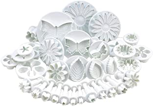 Zuoyou 33 Piece Fondant Cake Cookie Plunger Cutter Sugarcraft Flower Leaf Butterfly Heart Shape Decorating Mold DIY Tools