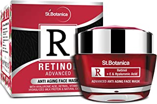 StBotanica Retinol Advanced Anti Aging Face Mask, 50g - With Retinol, Hyaluronic Acid, Vitamin C & Botanical Extracts