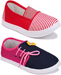 WORLD WEAR FOOTWEAR Women Multicolour Latest Collection Sneakers Shoes- Pack of 2 (Combo-(2)-11028-11021)