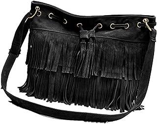 Women Celebrity Black Studed Motorcycle Bags 38cm Medium Shoulder Bag