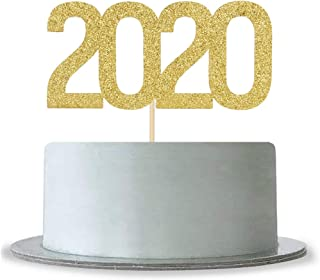 Gold Glitter 2020 Cake Topper for Happy New Year 2020,Hello 2020,Holiday Party Decorations Supplies