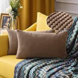 MIULEE Pack of 2 Decorative Lumbar Throw Pillow Covers Soft Pellets Soild Cushion