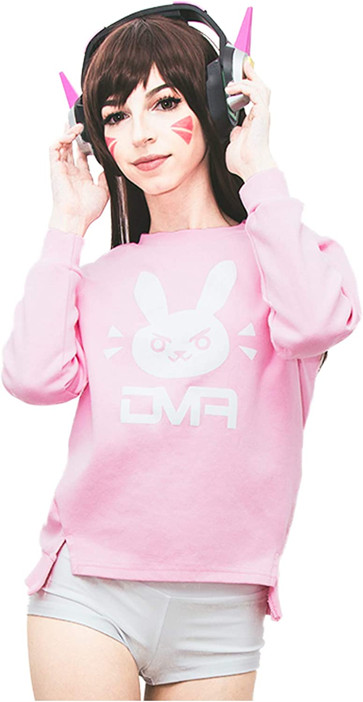 Dazcos Pink bluee Sweatshirts Print Rabbit Bunny Girl Long Sleeve Cotton TShirt
