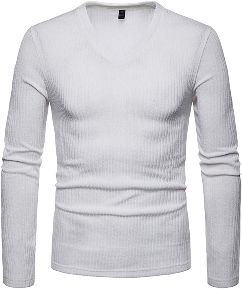 MODOQO Long Sleeve T-Shirt for Men, V-Neck Solid Casual Slim Fit Tee Tops for Sports Gym Fitness