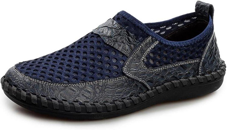 d8d205261cba8 Men's Casual Leather shoes Mesh Surface Manual Suture Flats shoes ...
