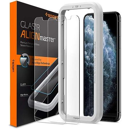 Spigen AlignMaster ガラスフィルム iPhone 11 Pro Max、iPhone XS Max 用 ガイド枠付き iPhone11Pro Max 用 保護 フィルム 2枚入