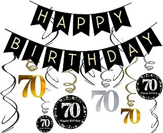 70th Birthday Decorations Kit- Gold Glitter Happy Birthday Banner & Sparkling Celebration 70 Hanging Swirls-70th Anniversary Decorations