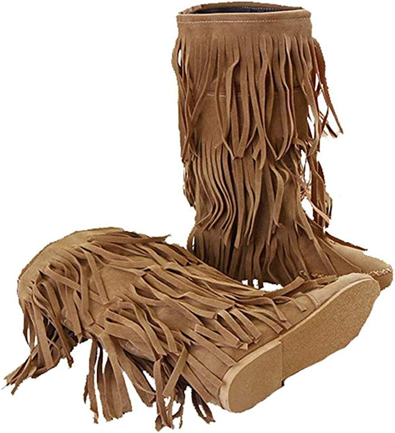 3 Layer Suede Fringe Moccasin Sweet Mid Calf Knight Cowboy Sexy Jeans Boots
