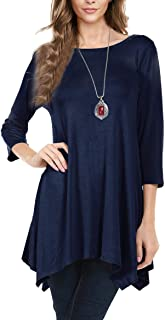 Urban CoCo Women's 3/4 Sleeve Comfy Tunic Tops Flare T Shirts