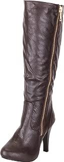 Cambridge Select Women's Side Zip High Heel Knee-High Boot,9 M US,Brown Pu