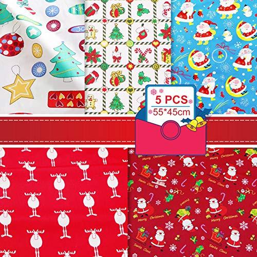Weihnachtsstoff Meterware Stoffe zum Nähen, DIY Baumwolle Patchwork Quadrate mit 5 Mustern, Weihnachten Fat Quarters Stoffbündel 45*55cm, Kunst Handwerk Stoff Material für Scrapbooking Quilten Nähen