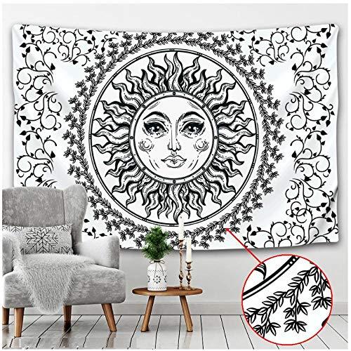 KBIASD Paño de Pared Blanco y Negro Sol Luna Tapiz Hippie Bohemio Arte de Pared psicodélico árbol Vida Manta para Colgar en la Pared 150x100cm