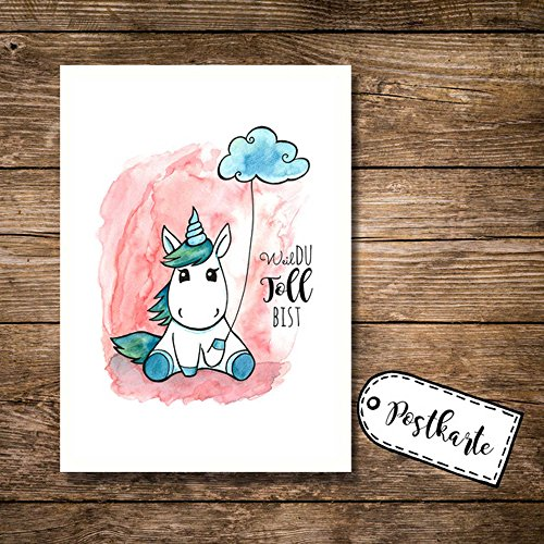 ilka parey wandtattoo-welt® A6 Postkarte Karte Print Einhorn mit Spruch Weil du toll bist pk03